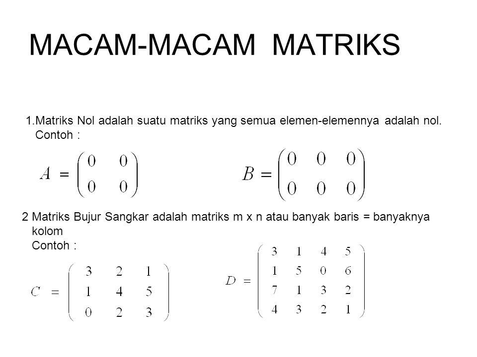 MACAM-MACAM MATRIKS 1.Matriks Nol adalah suatu matriks yang semua elemen-elemennya adalah nol. Contoh : 2 Matriks Bujur Sangkar adalah matriks m x n a