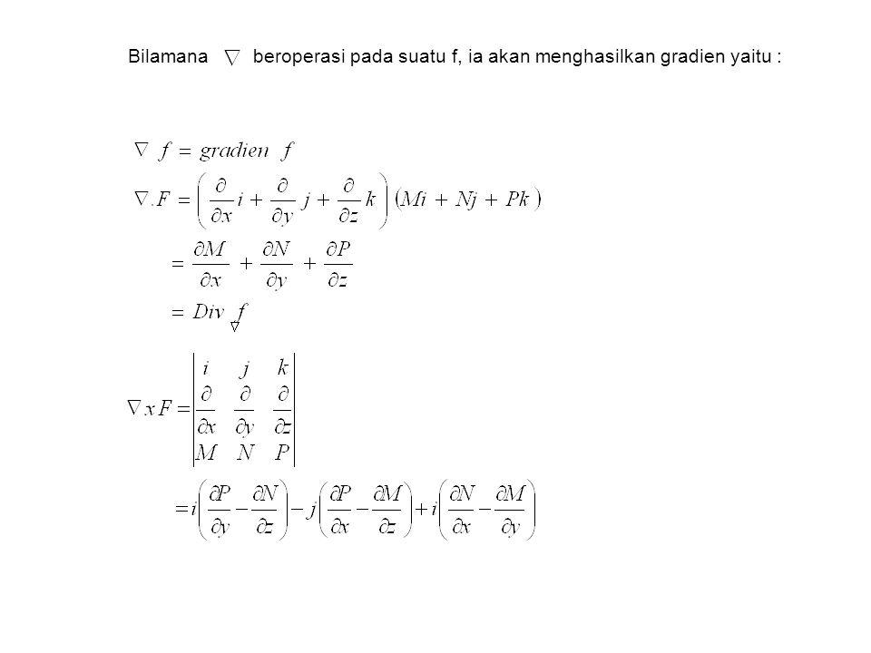 Bilamana beroperasi pada suatu f, ia akan menghasilkan gradien yaitu :