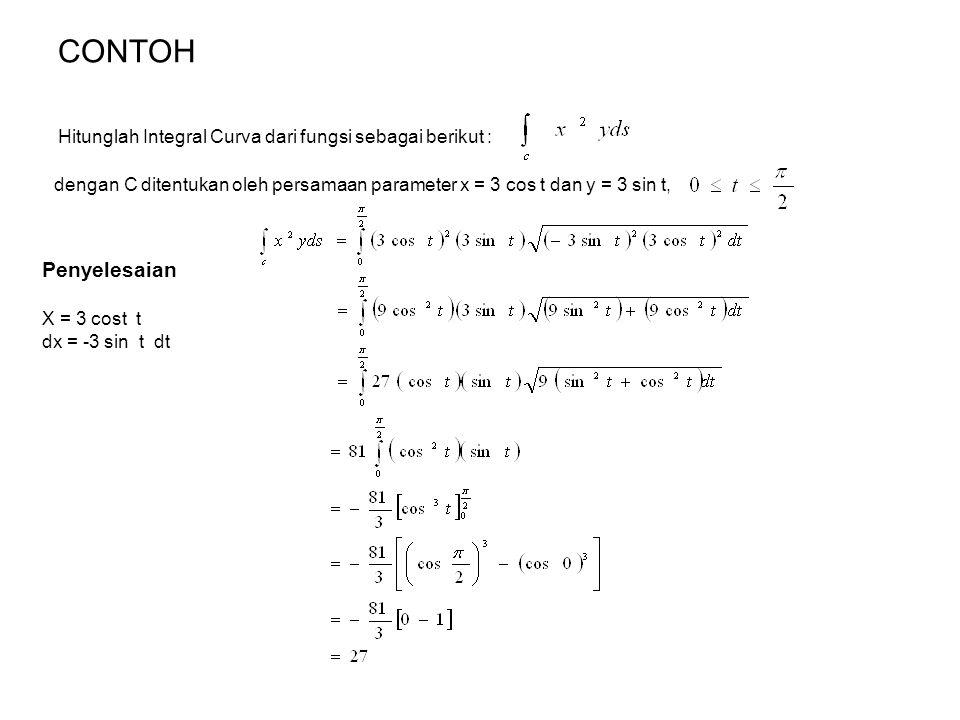 CONTOH Hitunglah Integral Curva dari fungsi sebagai berikut : dengan C ditentukan oleh persamaan parameter x = 3 cos t dan y = 3 sin t, Penyelesaian X