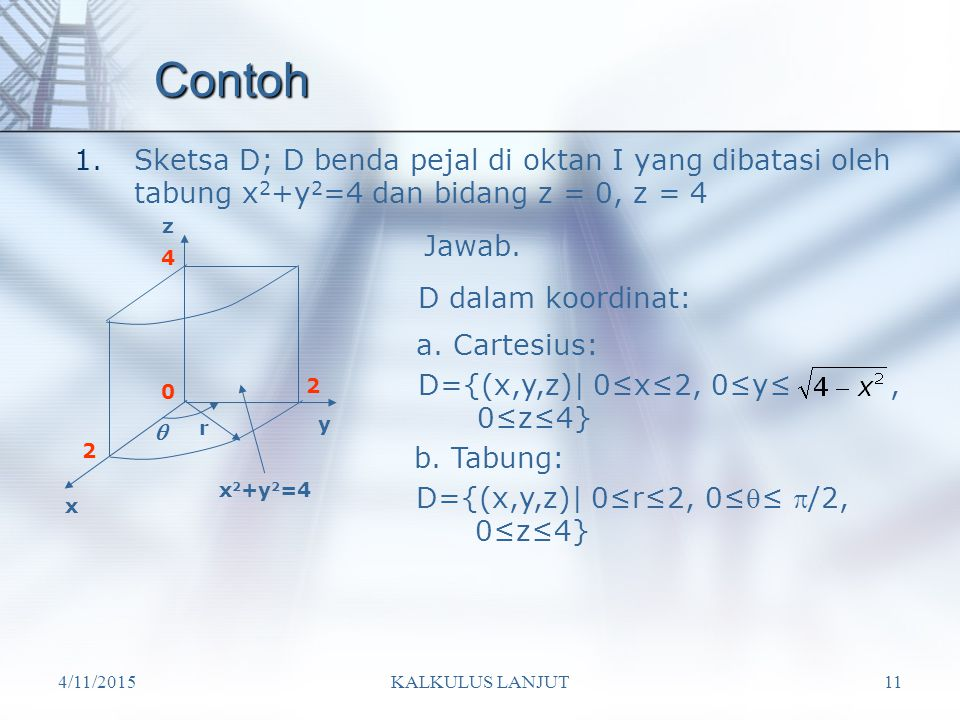 4/11/2015KALKULUS LANJUT11 Contoh 1.Sketsa D; D benda pejal di oktan I yang dibatasi oleh tabung x 2 +y 2 =4 dan bidang z = 0, z = 4 x y z r  2 2 4 D dalam koordinat: a.
