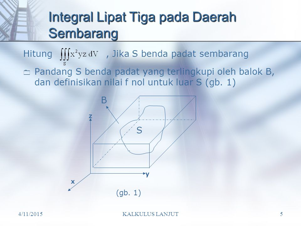 4/11/2015KALKULUS LANJUT5 Integral Lipat Tiga pada Daerah Sembarang  Pandang S benda padat yang terlingkupi oleh balok B, dan definisikan nilai f nol untuk luar S (gb.
