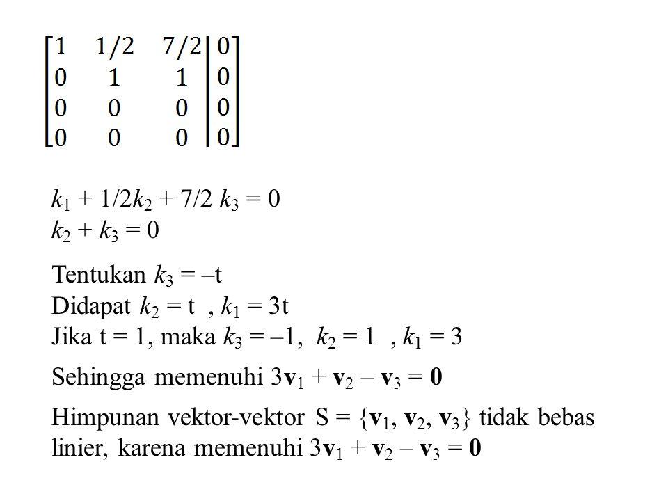 Latihan Tentukan, apakah vektor-vektor pada R 3 berikut bebas linier atau tak bebas linier.