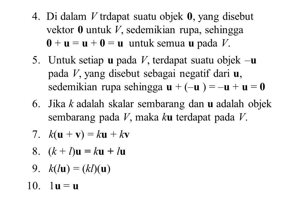 4.Di dalam V trdapat suatu objek 0, yang disebut vektor 0 untuk V, sedemikian rupa, sehingga 0 + u = u + 0 = u untuk semua u pada V.