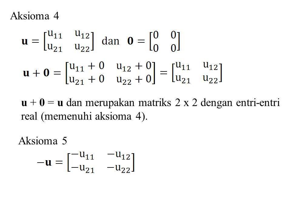 ku merupakan matriks 2 x 2 dengan entri-entri real (memenuhi aksioma 6).