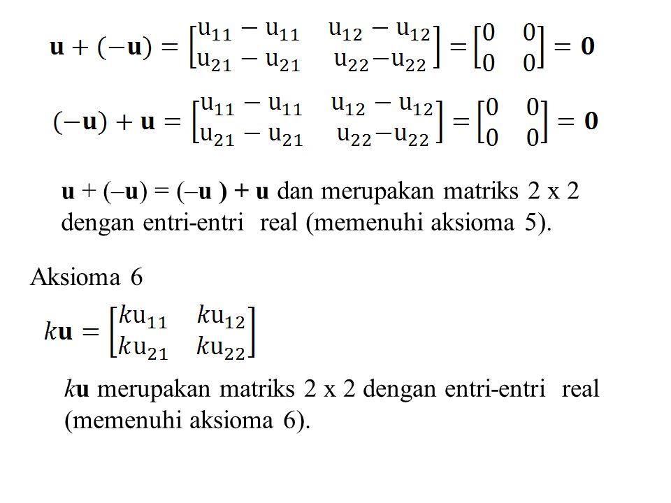 Aksioma 7 k(u+v) = ku + kv dan merupakan matriks 2 x 2 dengan entri-entri real (memenuhi aksioma 7).
