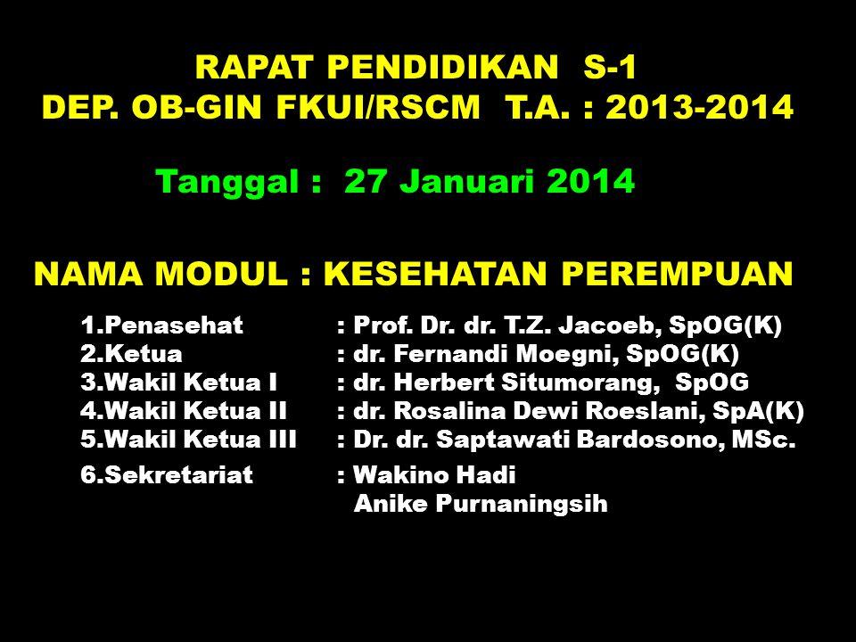 RAPAT PENDIDIKAN S-1 DEP. OB-GIN FKUI/RSCM T.A. : 2013-2014 Tanggal : 27 Januari 2014 6.Sekretariat : Wakino Hadi Anike Purnaningsih NAMA MODUL : KESE