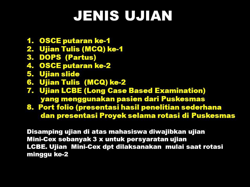 JENIS UJIAN 1.OSCE putaran ke-1 2.Ujian Tulis (MCQ) ke-1 3.DOPS (Partus) 4.OSCE putaran ke-2 5.Ujian slide 6.Ujian Tulis (MCQ) ke-2 7.Ujian LCBE (Long