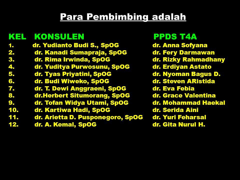 Para Pembimbing adalah KEL KONSULEN PPDS T4A 1. dr. Yudianto Budi S., SpOG dr. Anna Sofyana 2. dr. Kanadi Sumapraja, SpOG dr. Fery Darmawan 3. dr. Rim