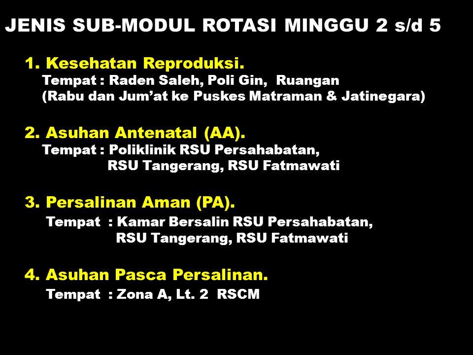 1. Kesehatan Reproduksi. Tempat : Raden Saleh, Poli Gin, Ruangan (Rabu dan Jum'at ke Puskes Matraman & Jatinegara) 2. Asuhan Antenatal (AA). Tempat :