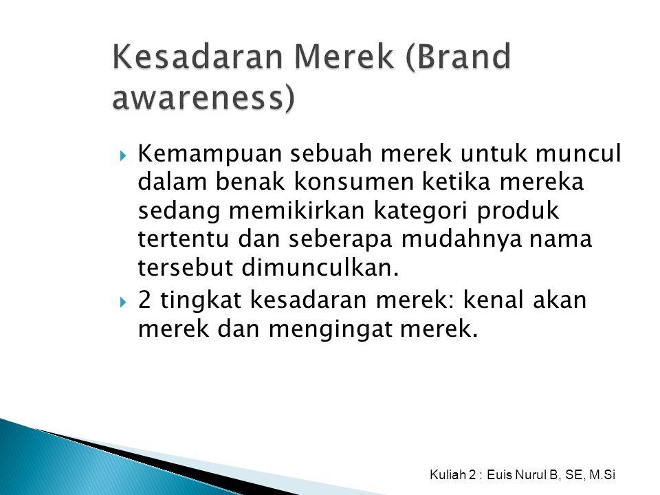 Kesadaran Merek (Brand awareness)  Kemampuan sebuah merek untuk muncul dalam benak konsumen ketika mereka sedang memikirkan kategori produk tertentu