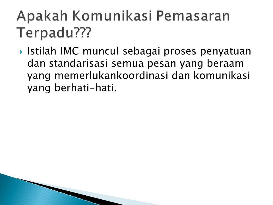 Kuliah 2 : Euis Nurul B, SE, M.Si Branding Energy  IMC merupakan unsur komunikasi yang berkaitan erat keberhasilan manajemen ekuitas merek: iklan, penjualan perorangan, promosi penjualan, kemasan, events dll)  Branding(merek): nama permainan yang diberikan perusahaan untuk mengembangakan merek agar dapat bersaing di pasar.
