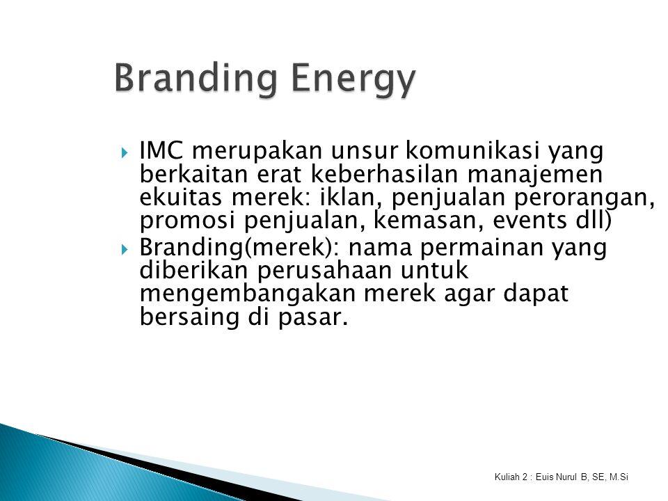 Kuliah 2 : Euis Nurul B, SE, M.Si Branding Energy  IMC merupakan unsur komunikasi yang berkaitan erat keberhasilan manajemen ekuitas merek: iklan, pe