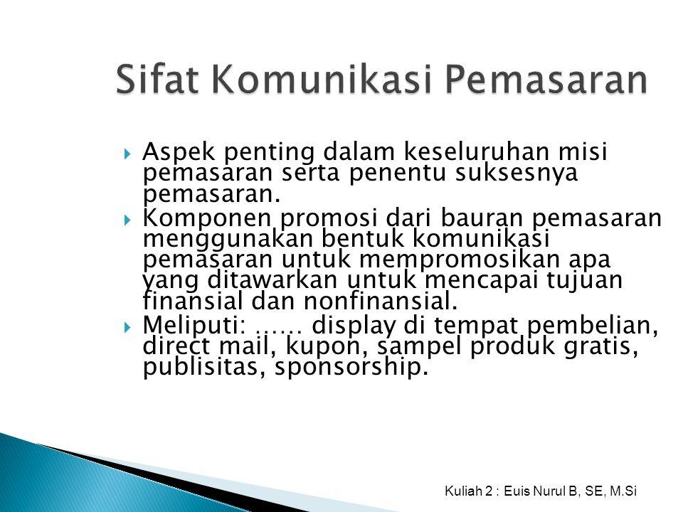 Sifat Komunikasi Pemasaran  Aspek penting dalam keseluruhan misi pemasaran serta penentu suksesnya pemasaran.  Komponen promosi dari bauran pemasara