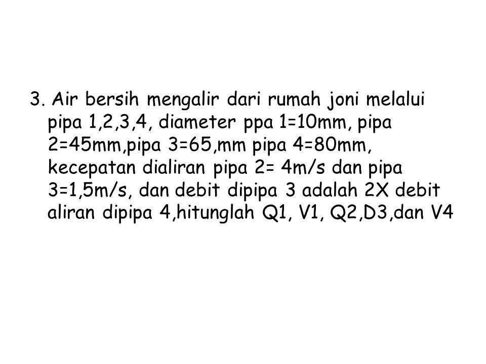3. Air bersih mengalir dari rumah joni melalui pipa 1,2,3,4, diameter ppa 1=10mm, pipa 2=45mm,pipa 3=65,mm pipa 4=80mm, kecepatan dialiran pipa 2= 4m/