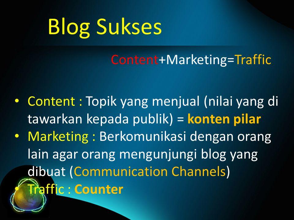 Content : Topik yang menjual (nilai yang di tawarkan kepada publik) = konten pilar Marketing : Berkomunikasi dengan orang lain agar orang mengunjungi blog yang dibuat (Communication Channels) Traffic : Counter Blog Sukses Content+Marketing=Traffic