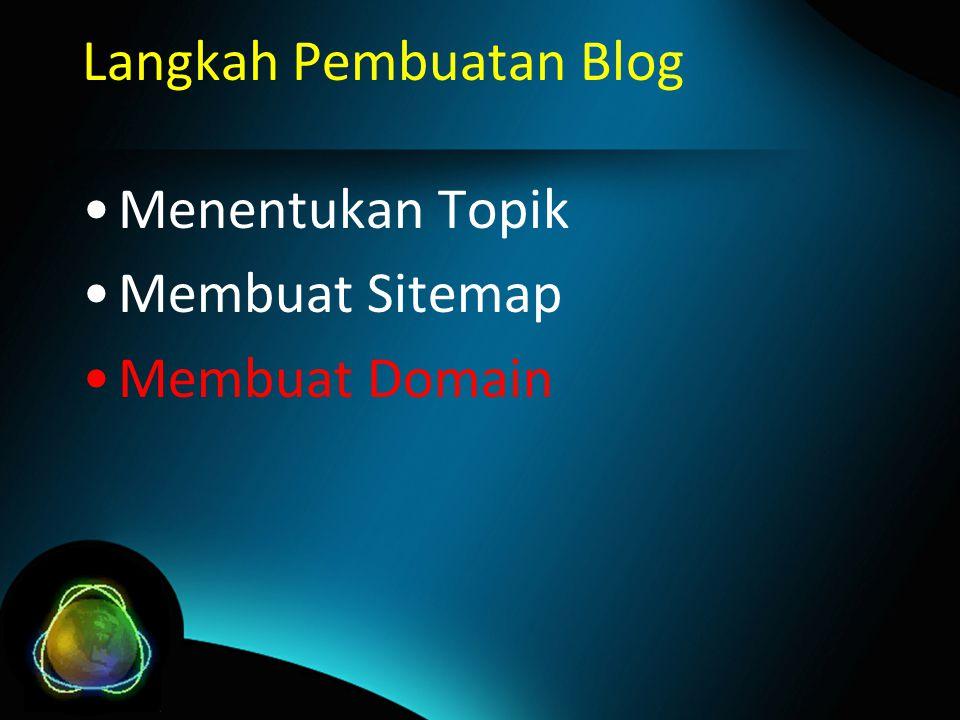 Langkah Pembuatan Blog Menentukan Topik Membuat Sitemap Membuat Domain