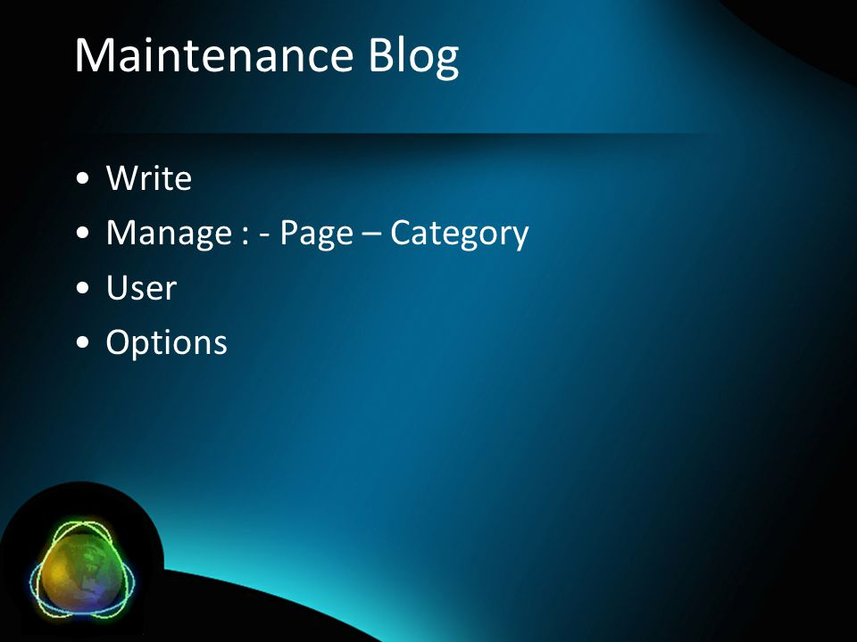 Maintenance Blog Write Manage : - Page – Category User Options