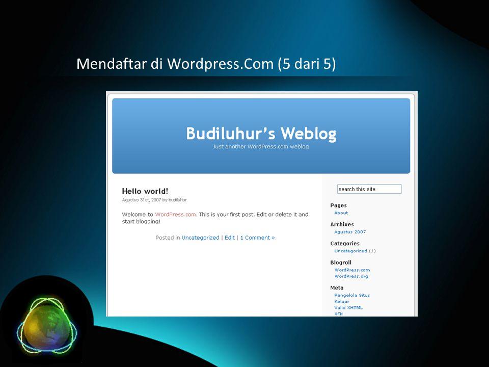 Mendaftar di Wordpress.Com (5 dari 5)