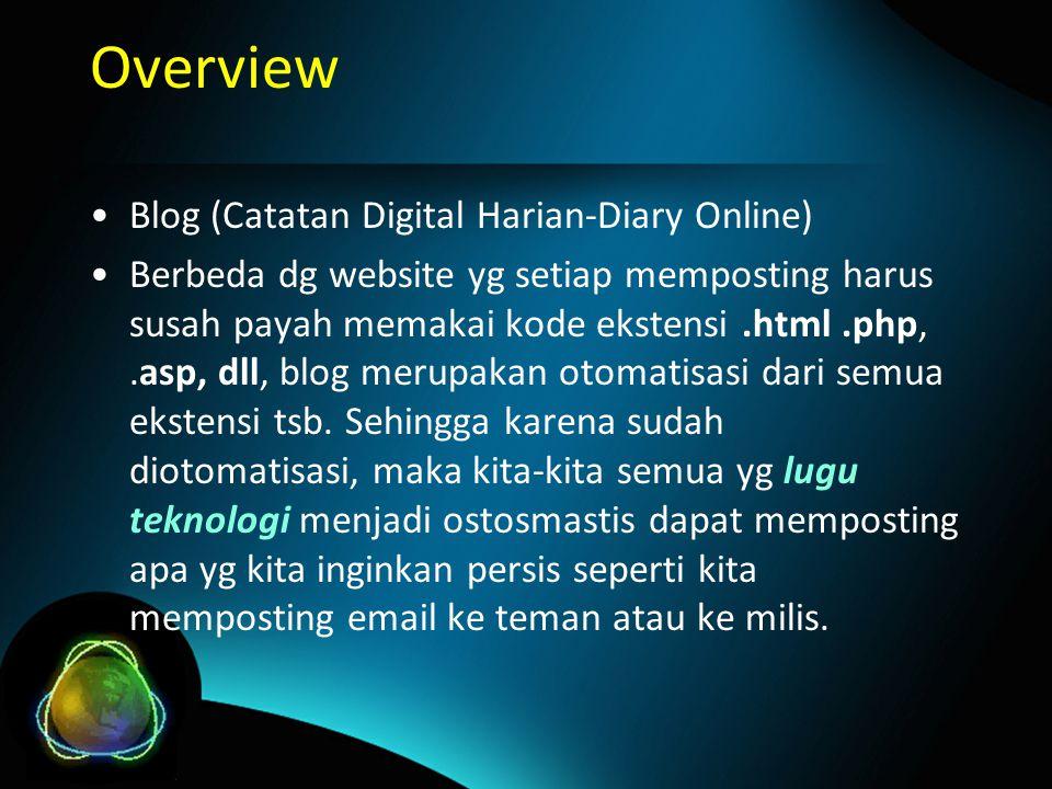 Overview Blog (Catatan Digital Harian-Diary Online) Berbeda dg website yg setiap memposting harus susah payah memakai kode ekstensi.html.php,.asp, dll, blog merupakan otomatisasi dari semua ekstensi tsb.