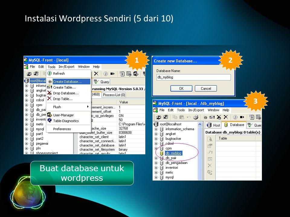 Instalasi Wordpress Sendiri (5 dari 10) Buat database untuk wordpress 12 3