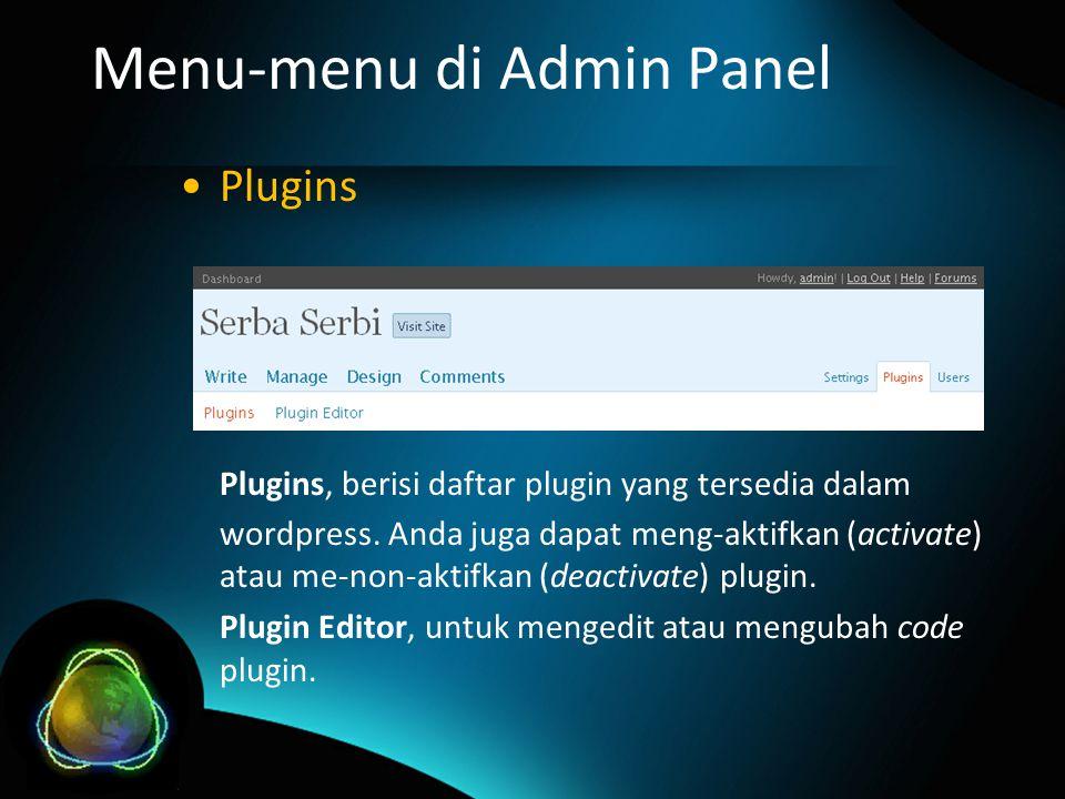 Menu-menu di Admin Panel Plugins Plugins, berisi daftar plugin yang tersedia dalam wordpress.
