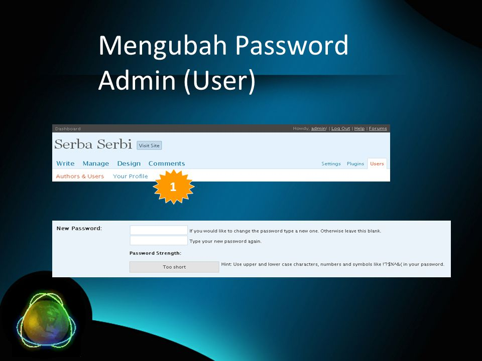 Mengubah Password Admin (User) 1