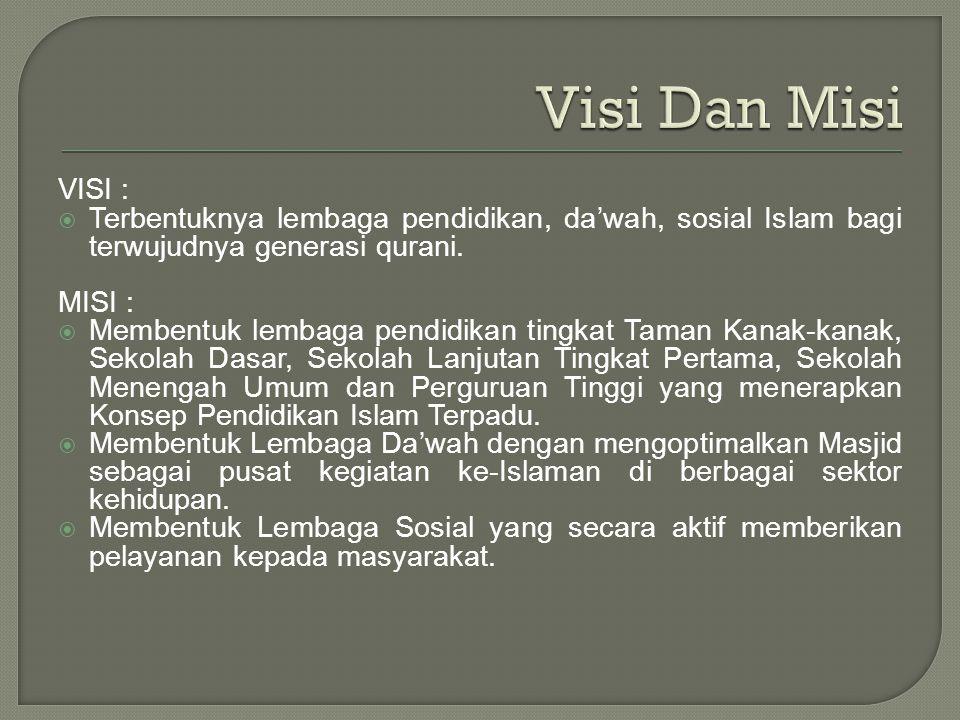 VISI :  Terbentuknya lembaga pendidikan, da'wah, sosial Islam bagi terwujudnya generasi qurani. MISI :  Membentuk lembaga pendidikan tingkat Taman K