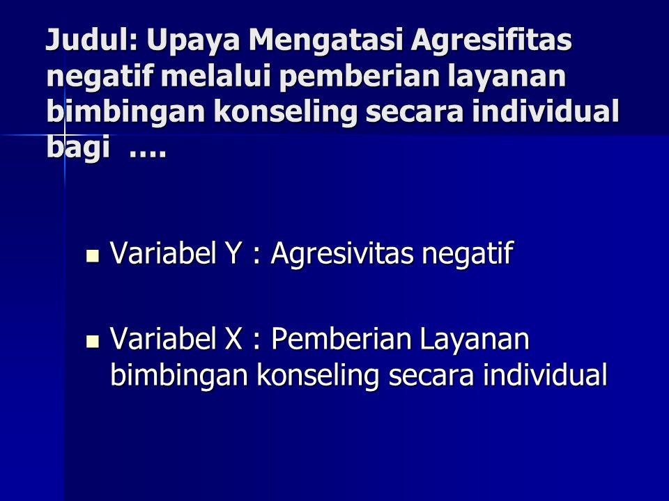 Judul: Upaya Mengatasi Agresifitas negatif melalui pemberian layanan bimbingan konseling secara individual bagi ….
