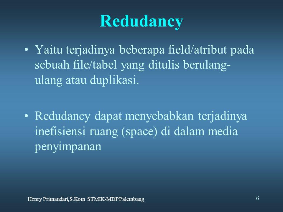 Henry Primandari,S.Kom STMIK-MDP Palembang 6 Redudancy Yaitu terjadinya beberapa field/atribut pada sebuah file/tabel yang ditulis berulang- ulang ata