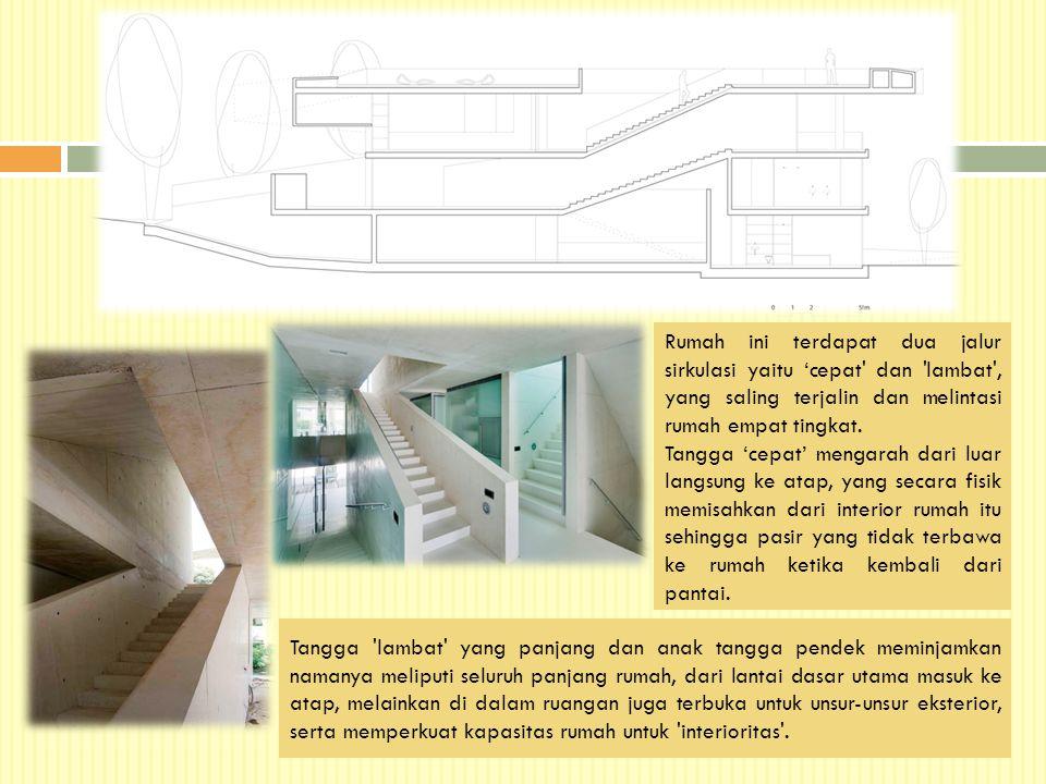 Rumah ini terdapat dua jalur sirkulasi yaitu 'cepat' dan 'lambat', yang saling terjalin dan melintasi rumah empat tingkat. Tangga 'cepat' mengarah dar