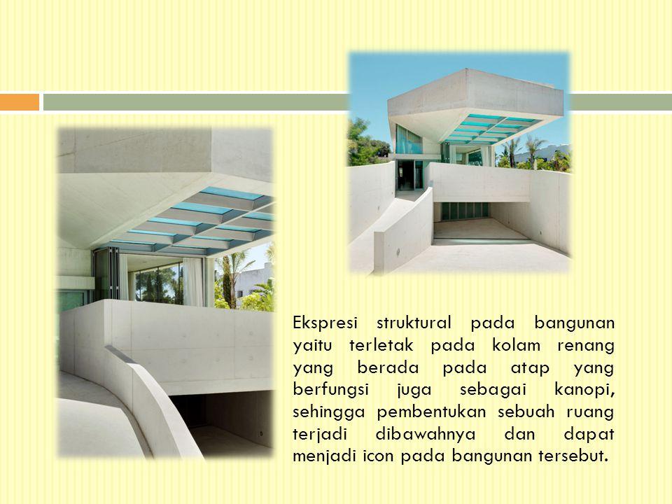 Ekspresi struktural pada bangunan yaitu terletak pada kolam renang yang berada pada atap yang berfungsi juga sebagai kanopi, sehingga pembentukan sebu
