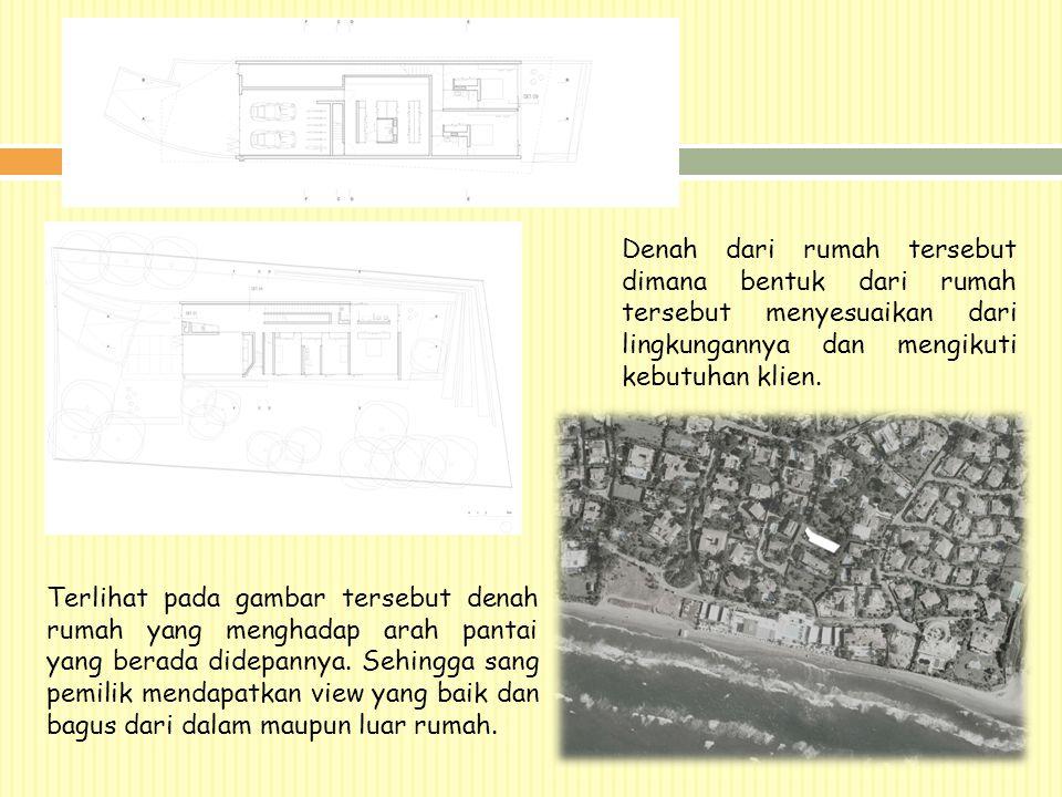 Denah dari rumah tersebut dimana bentuk dari rumah tersebut menyesuaikan dari lingkungannya dan mengikuti kebutuhan klien. Terlihat pada gambar terseb
