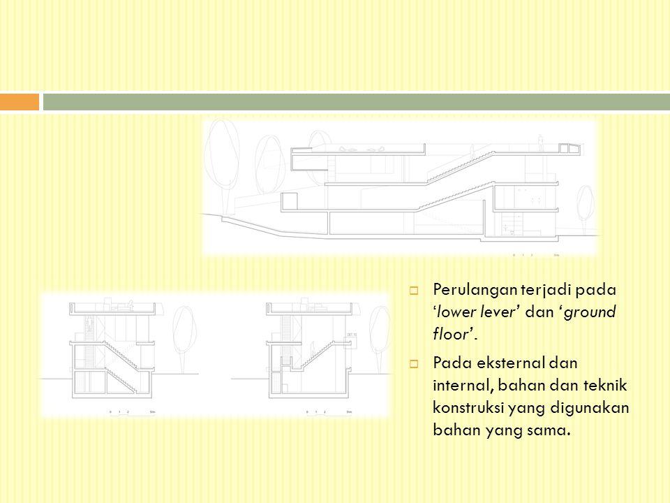  Perulangan terjadi pada 'lower lever' dan 'ground floor'.  Pada eksternal dan internal, bahan dan teknik konstruksi yang digunakan bahan yang sama.
