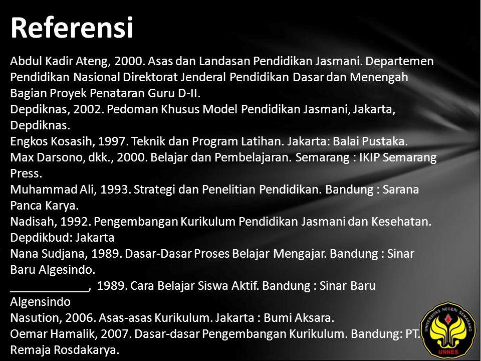Referensi Abdul Kadir Ateng, 2000. Asas dan Landasan Pendidikan Jasmani.