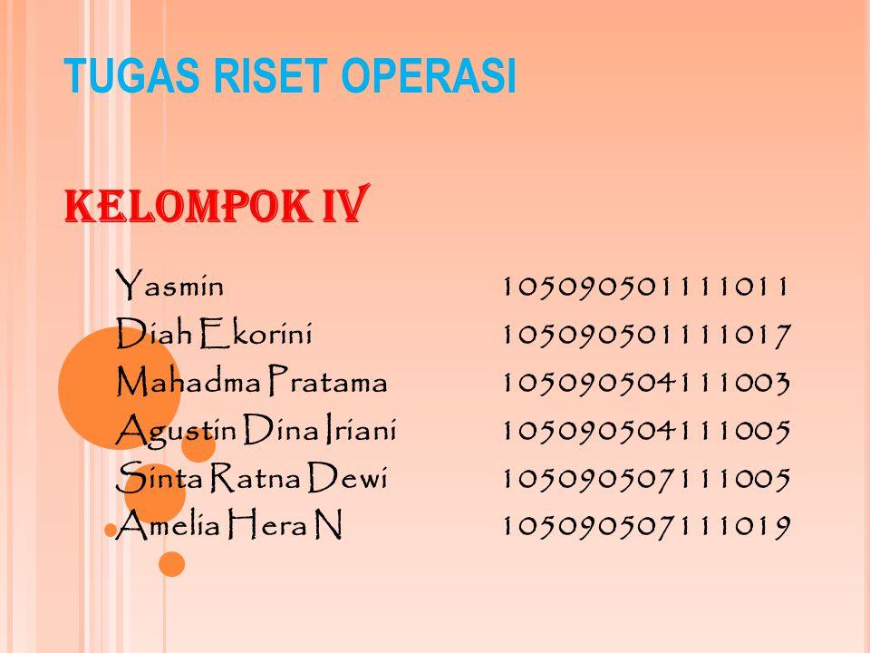 TUGAS RISET OPERASI Kelompok IV Yasmin105090501111011 Diah Ekorini105090501111017 Mahadma Pratama105090504111003 Agustin Dina Iriani105090504111005 Si