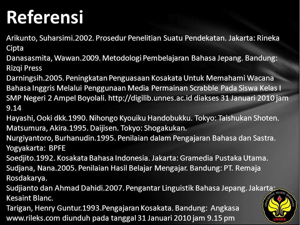 Referensi Arikunto, Suharsimi.2002. Prosedur Penelitian Suatu Pendekatan.