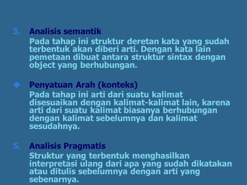 3.Analisis semantik Pada tahap ini struktur deretan kata yang sudah terbentuk akan diberi arti.