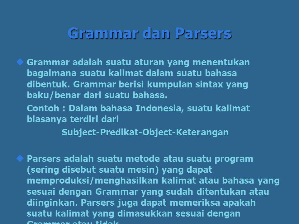 Grammar dan Parsers  Grammar adalah suatu aturan yang menentukan bagaimana suatu kalimat dalam suatu bahasa dibentuk.