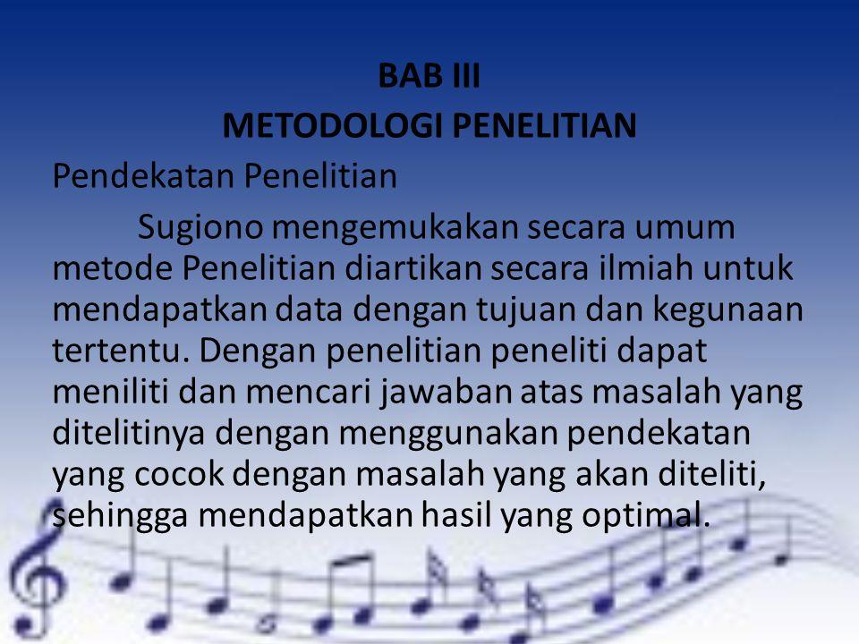 BAB III METODOLOGI PENELITIAN Pendekatan Penelitian Sugiono mengemukakan secara umum metode Penelitian diartikan secara ilmiah untuk mendapatkan data dengan tujuan dan kegunaan tertentu.