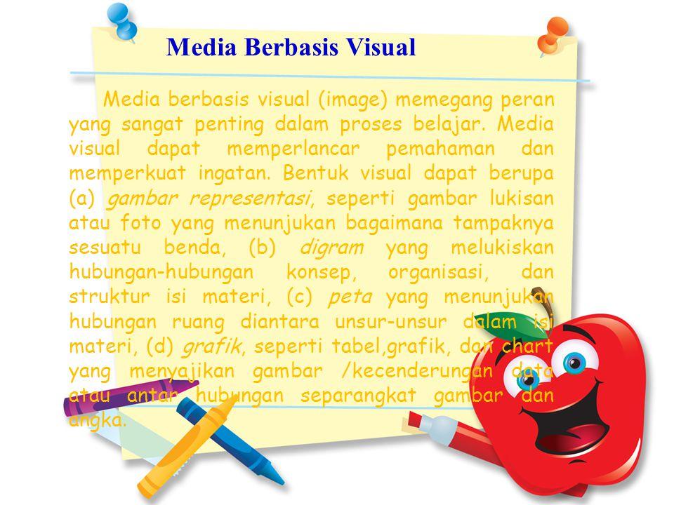 Media Berbasis Visual Media berbasis visual (image) memegang peran yang sangat penting dalam proses belajar. Media visual dapat memperlancar pemahaman