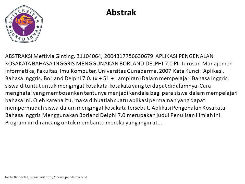 Abstrak ABSTRAKSI Meftivia Ginting.