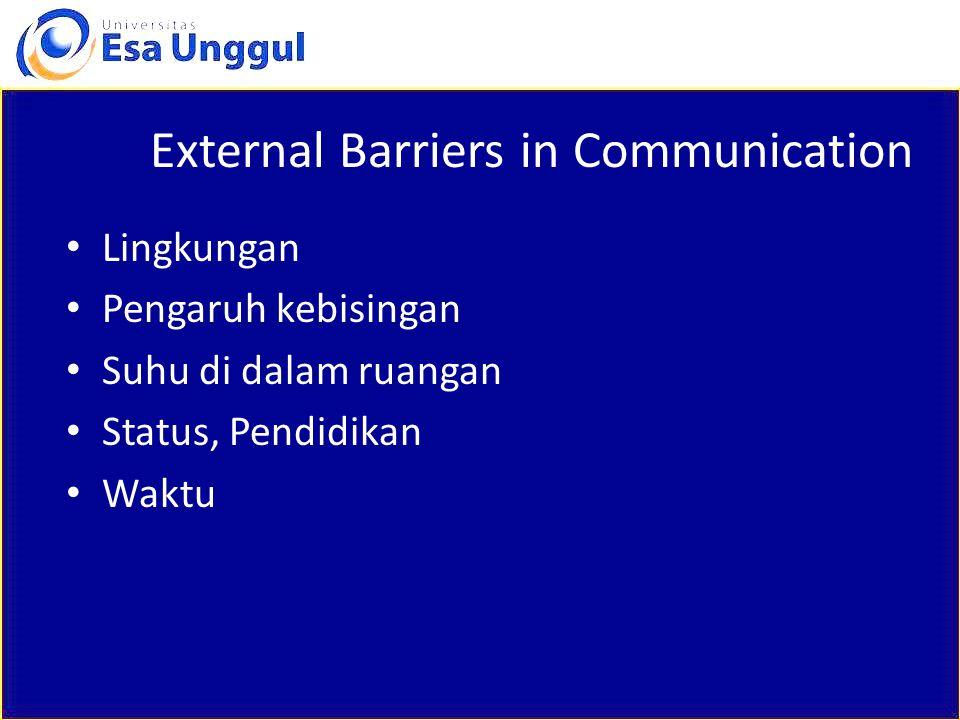 External Barriers in Communication Lingkungan Pengaruh kebisingan Suhu di dalam ruangan Status, Pendidikan Waktu