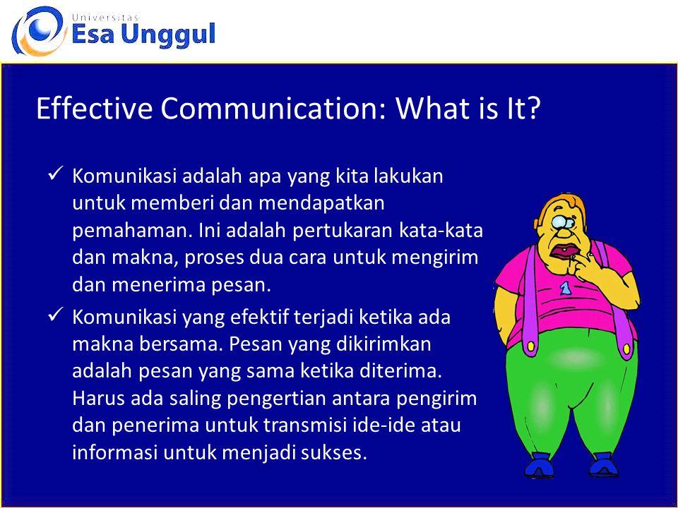 Effective Communication: What is It? Komunikasi adalah apa yang kita lakukan untuk memberi dan mendapatkan pemahaman. Ini adalah pertukaran kata-kata