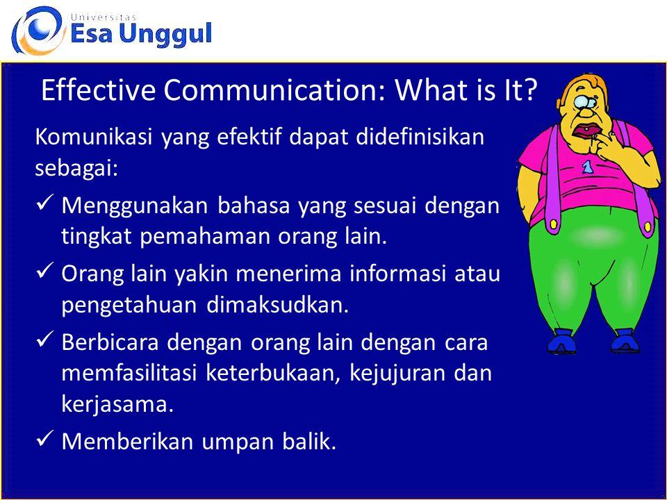 Effective Communication: What is It? Komunikasi yang efektif dapat didefinisikan sebagai: Menggunakan bahasa yang sesuai dengan tingkat pemahaman oran