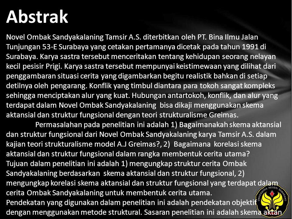 Abstrak Novel Ombak Sandyakalaning Tamsir A.S. diterbitkan oleh PT.
