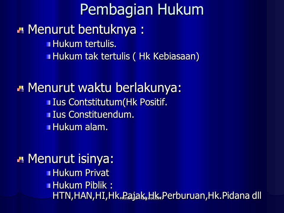 Hernawan Hadi.doc.2007 Pembagian Hukum Menurut bentuknya : Hukum tertulis.