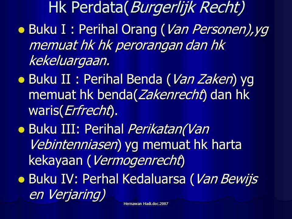 Hernawan Hadi.doc.2007 Hk Perdata(Burgerlijk Recht) Buku I : Perihal Orang (Van Personen),yg memuat hk hk perorangan dan hk kekeluargaan.