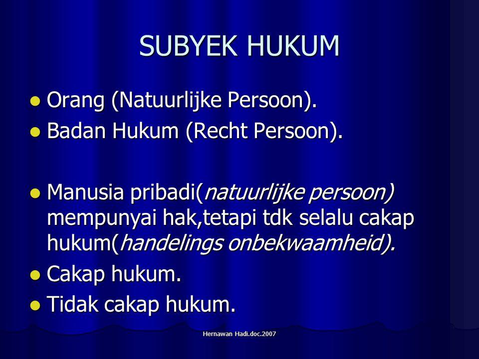 Hernawan Hadi.doc.2007 SUBYEK HUKUM Orang (Natuurlijke Persoon).