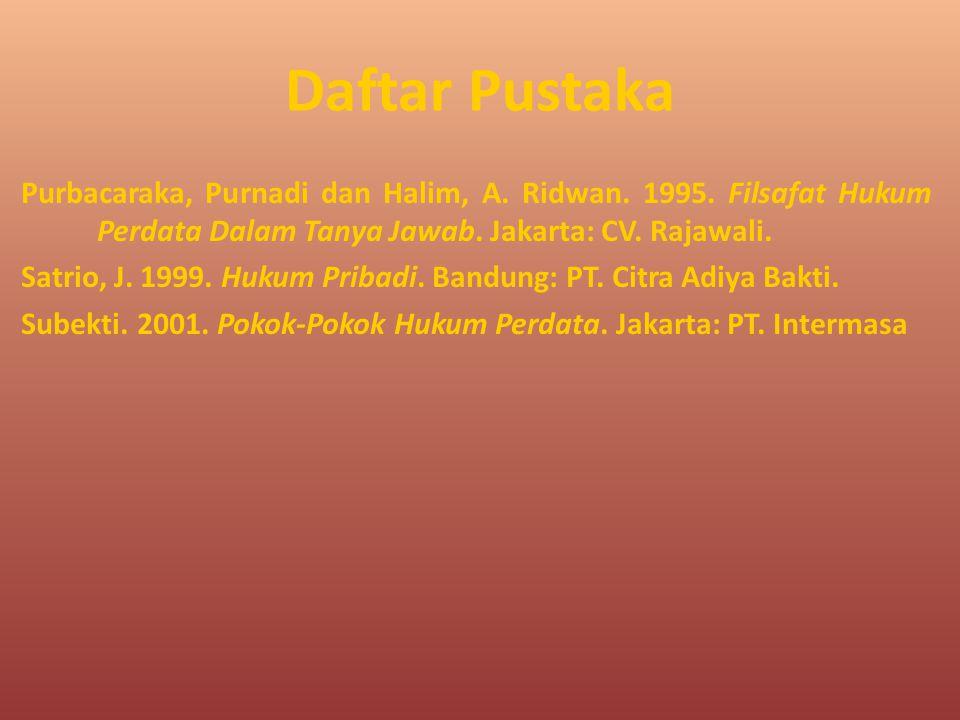 Daftar Pustaka Purbacaraka, Purnadi dan Halim, A. Ridwan. 1995. Filsafat Hukum Perdata Dalam Tanya Jawab. Jakarta: CV. Rajawali. Satrio, J. 1999. Huku