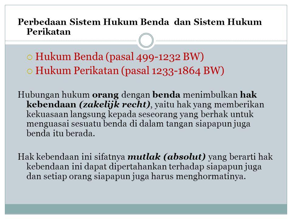 Perbedaan Sistem Hukum Benda dan Sistem Hukum Perikatan  Hukum Benda (pasal 499-1232 BW)  Hukum Perikatan (pasal 1233-1864 BW) Hubungan hukum orang